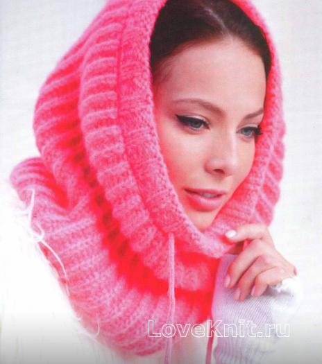 Как связать спицами розовый шарф капюшон