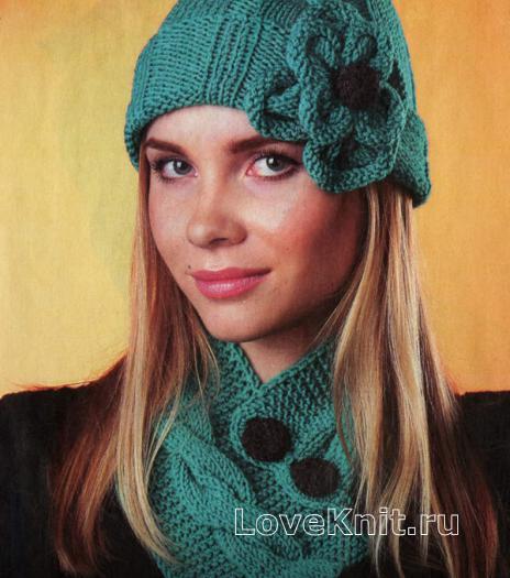 Как связать спицами шапочка с цветком и шарфик на пуговицах