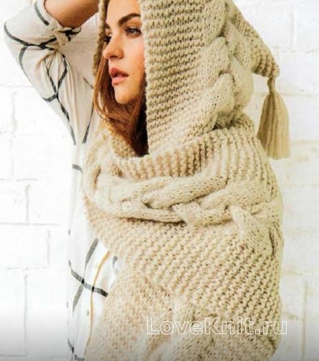 Как связать спицами шарф-капюшон с крупными косами