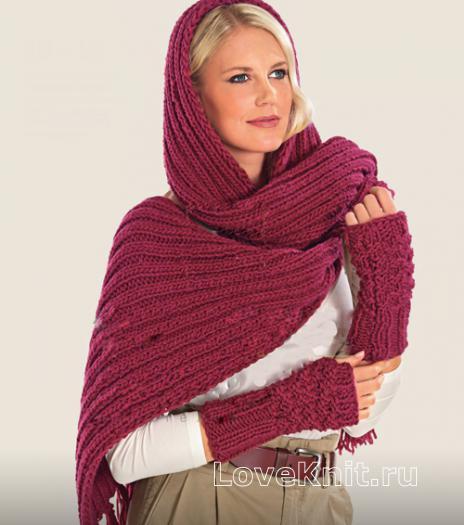 Как связать спицами шарф капюшон и митенки
