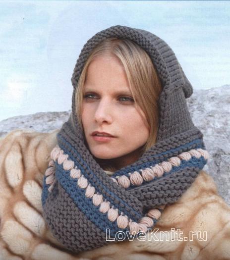 Как связать спицами шарф капюшон с орнаментом