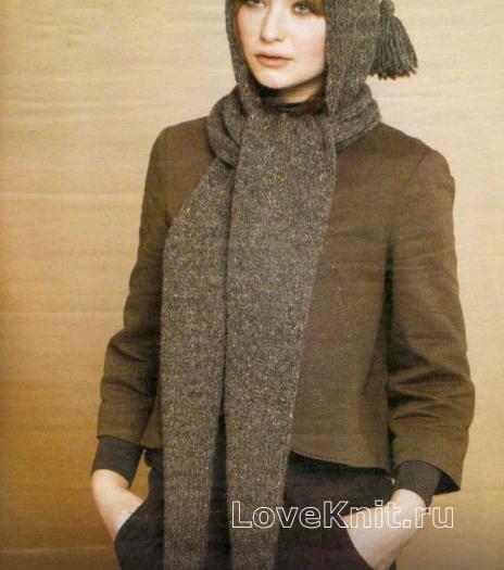 Как связать спицами шарф-капюшон с помпонами