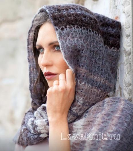 Как связать спицами шарф-капюшон узором из снятых петель