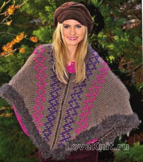 Как связать спицами шарф-накидка с цветным узором