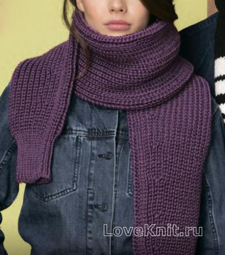 Как связать спицами шарф резинкой