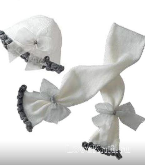 Как связать спицами шарф и шапочка с рюшками