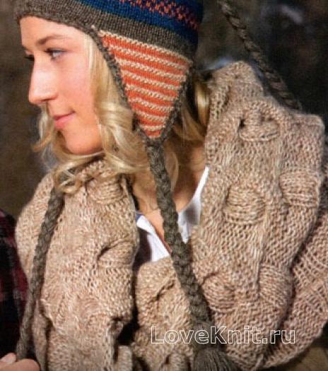Как связать спицами шарф снуд косами