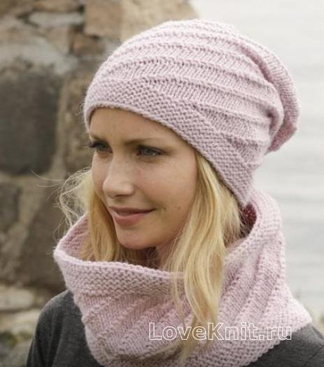 шарф снуд и шапочка с узором схема спицами люблю вязать