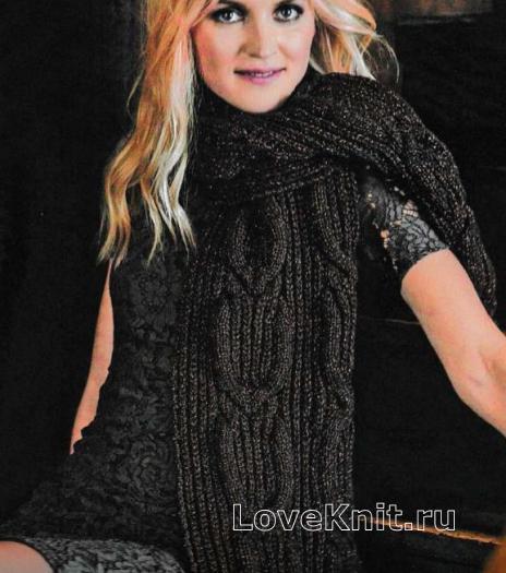 Как связать спицами широкий шарф с объемными косами