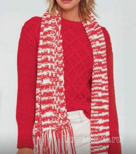 Как связать спицами теплый джемпер с жемчужным узором и двухцветный шарф