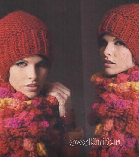Как связать спицами толстый цветной шарф и шапка с широкой резинкой
