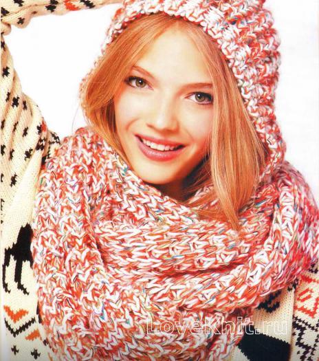Как связать спицами вязаный меланжевый шарф капор