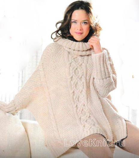 Как связать спицами безразмерный пуловер - пончо с большим воротником и косами