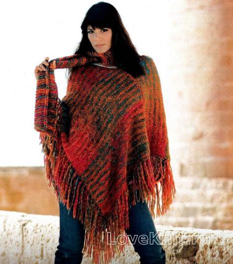 Как связать спицами цветное пончо с кистями и шарф