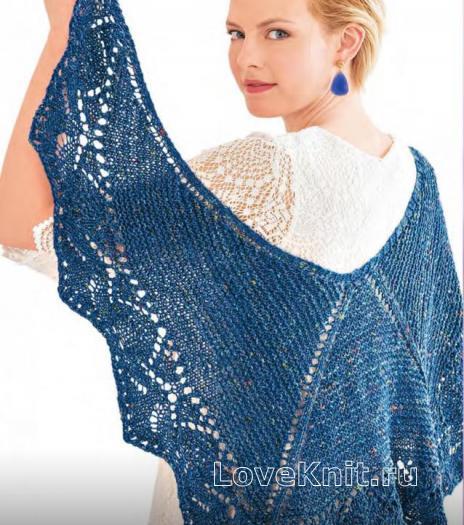 Как связать спицами платок с ажурной каймой