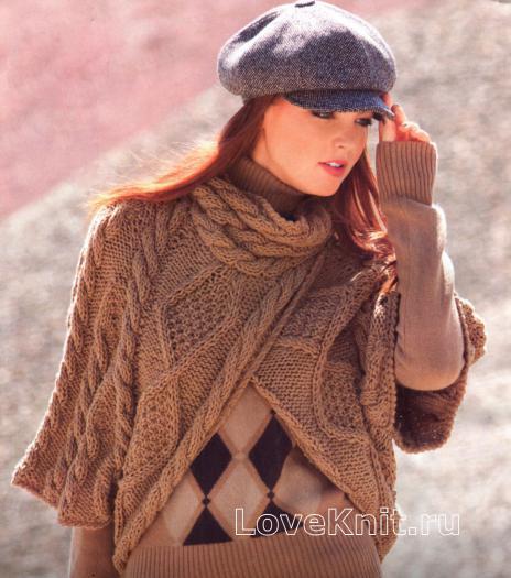 Как связать спицами пончо - шарф с узором из ромбов