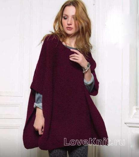 Как связать спицами простое пончо-накидка платочной вязкой