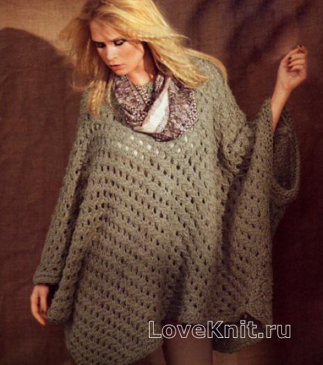 Как связать спицами пуловер-пончо