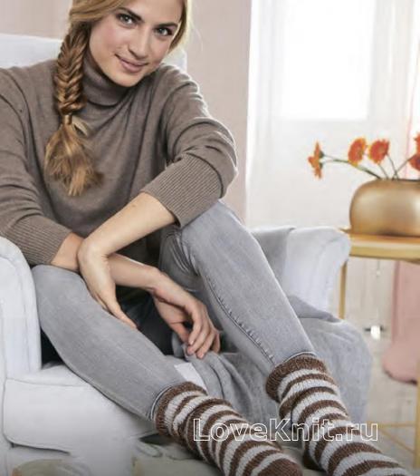 Как связать спицами полосатые теплые носочки
