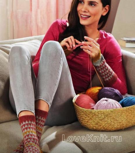 Как связать спицами удлиненные жаккардовые носки