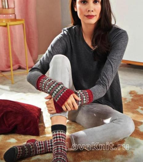 Как связать спицами жаккардовые носки с пяткой бумеранг