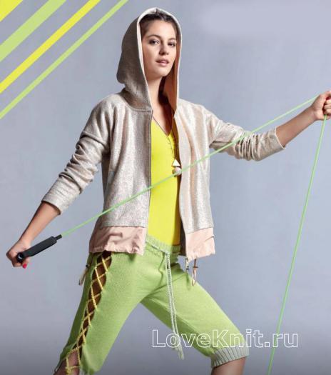 Как связать спицами бриджи в спортивном стиле со шнуровкой по бокам