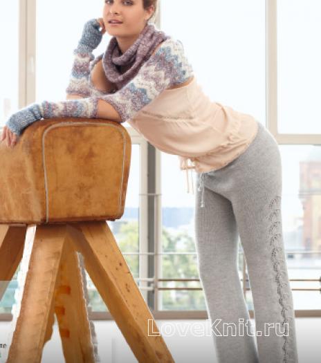 Как связать спицами брюки на завязках с ажурным узором