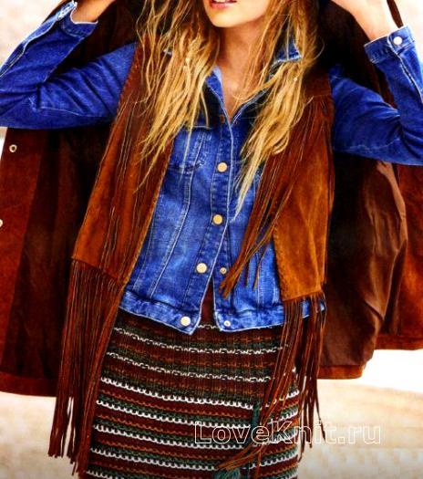 Как связать спицами полосатая юбка в этностиле