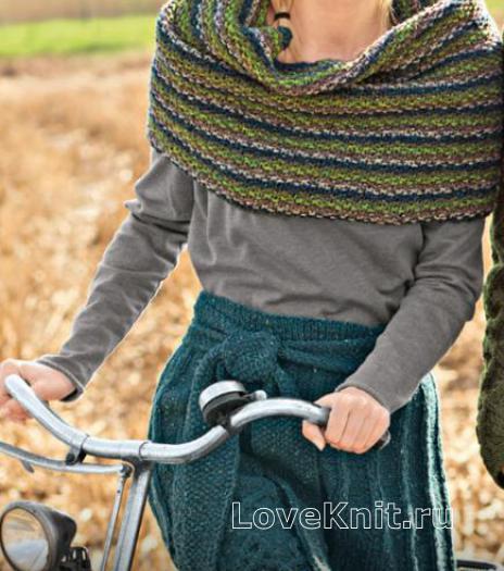 Как связать спицами узорчатая юбка до колена с поясом и шарф-снуд