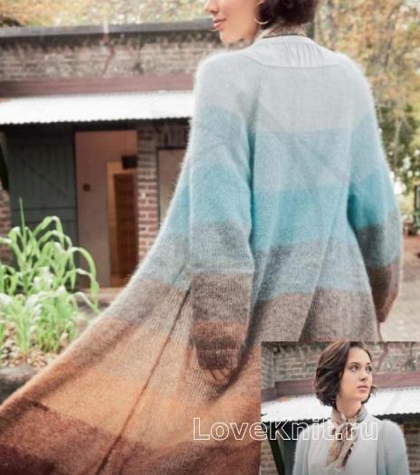 Как связать спицами длинное многоцветное пальто без застежек