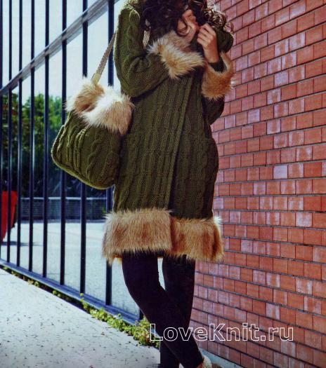 Как связать спицами пальто, шапочка и сумочка