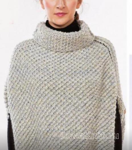 Как связать спицами пончо-пуловер с высоким воротником
