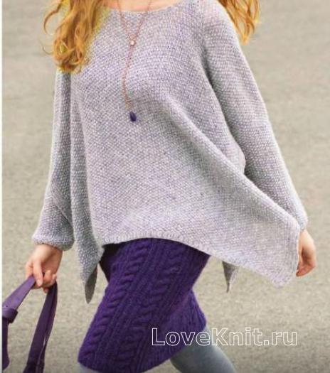 Как связать спицами пуловер-пончо с асимметричной длиной и юбка с косами