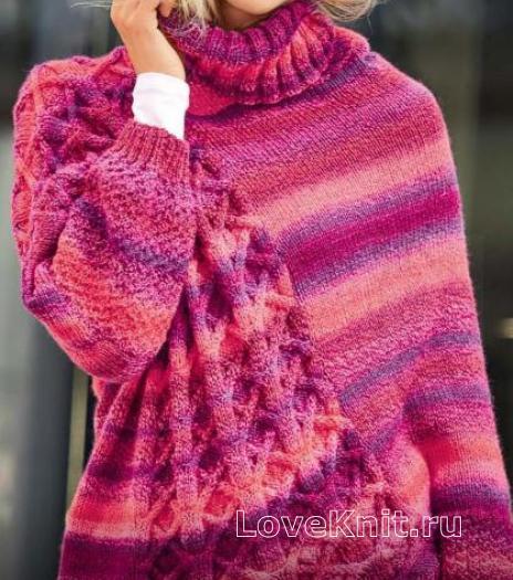 Как связать спицами пуловер-пончо с асимметричным рисунком