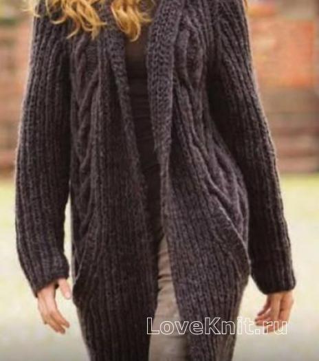Как связать спицами свободное пальто с карманами