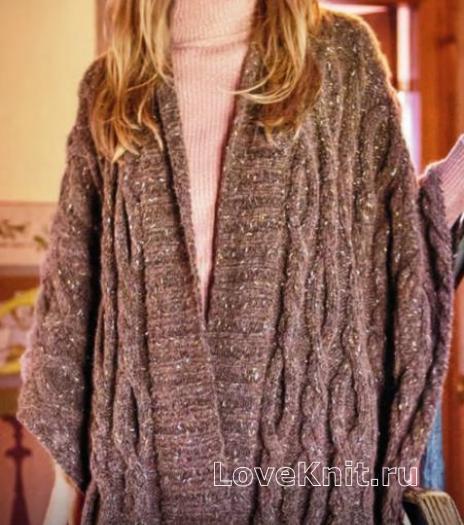 Как связать спицами свободный пончо-пуловер с крупными косами