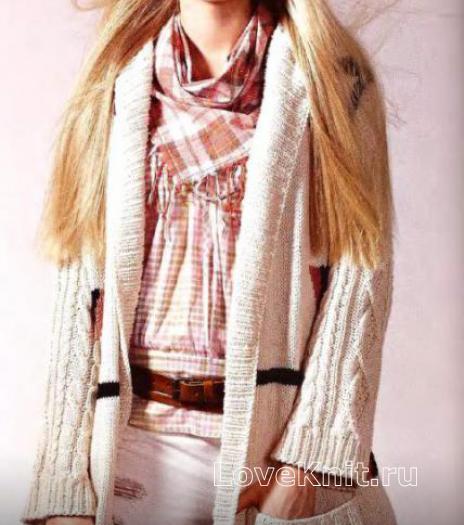 Как связать спицами удлиненное пальто с накладными карманами