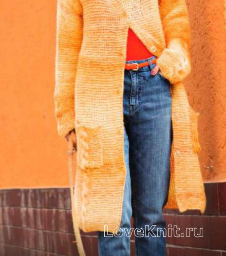 Как связать спицами удлиненное теплое пальто с накладными карманами