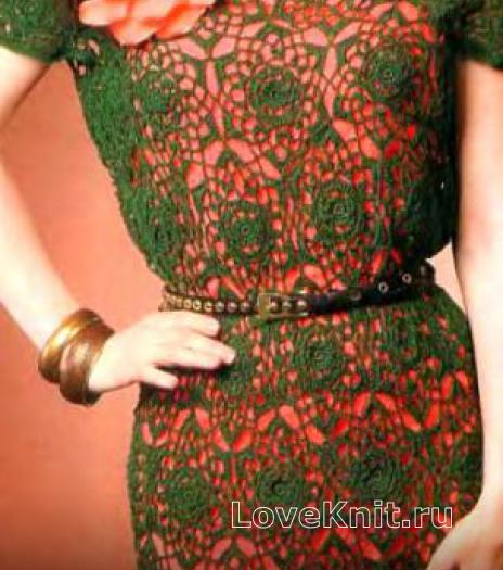 Как связать крючком ажурное платье с цветочным мотивом