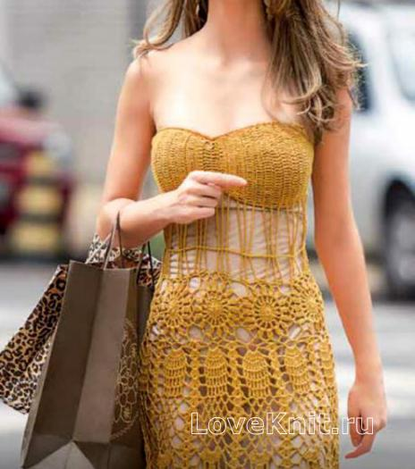 Как связать крючком ажурное платье без лямок