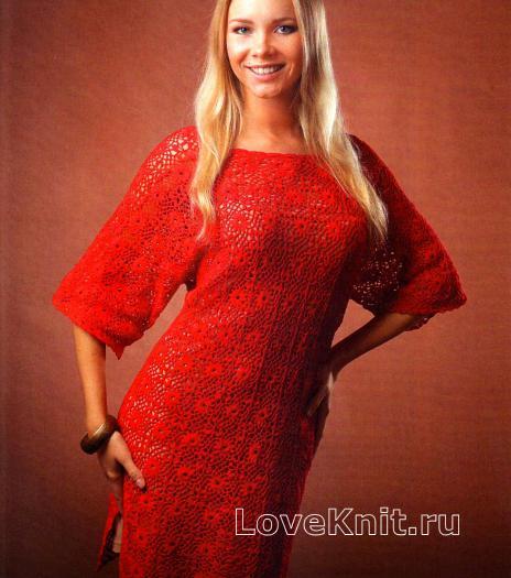 Как связать крючком красное платье с широкими рукавами