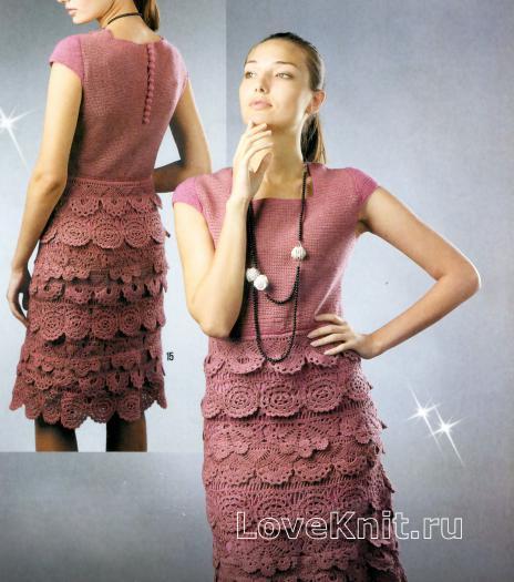 Как связать крючком платье до колен с оборками