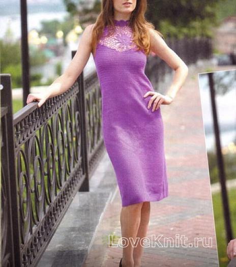 Как связать крючком платье с открытой спиной длиной до колена