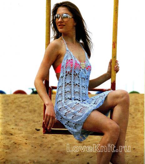Как связать крючком пляжная туника с открытой спиной