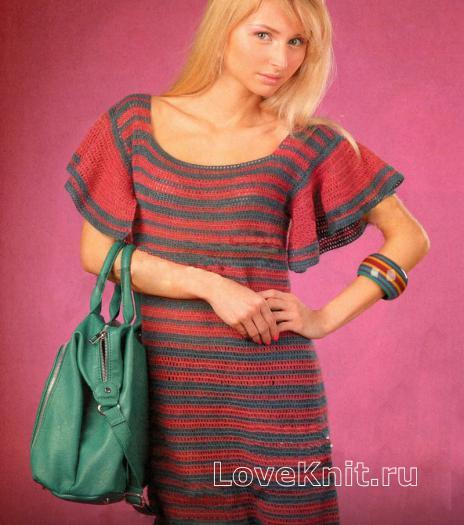 Как связать крючком полосатое платье с коротким рукавом
