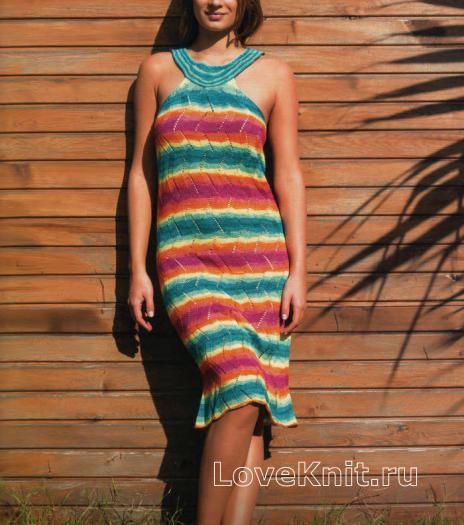 Как связать крючком полосатое платье с открытыми плечами