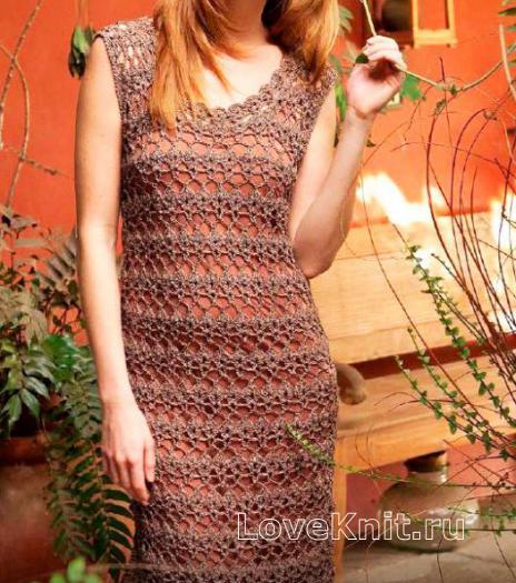 Как связать крючком сетчатое платье до колена с арочным узором