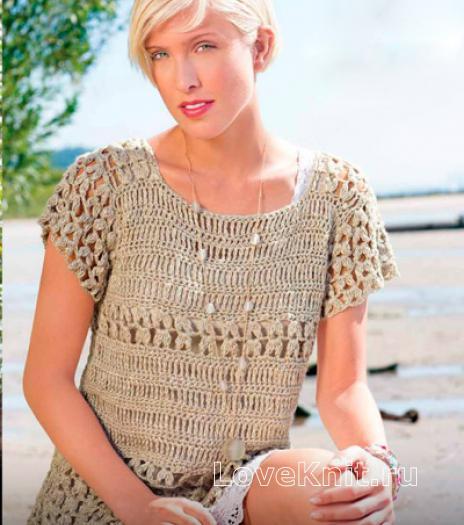 Как связать крючком ажурный пуловер с коротким рукавом