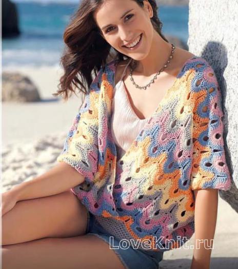 Как связать крючком ажурный пуловер оверсайз с запахом и глубоким вырезом
