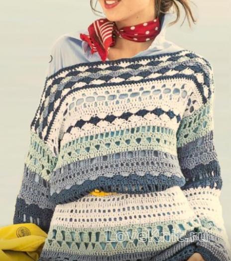 Как связать крючком цветной пуловер в морском стиле с открытыми плечами